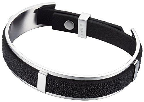 Joop! Unisex-Armband Edelstahl golden mit schwarz JPBR10330B215