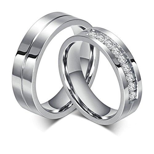 Bishilin Edelstahl 6MM Verlobungsringe Für Paars Set Mit 2 Ringe Damen Größe 57 (18.1) & Herren Größe 67 (21.3)