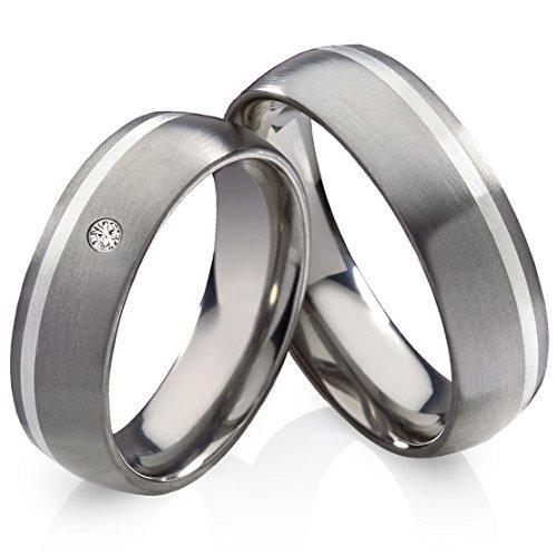 Titanringe Verlobungsringe Eheringe Trauringe Hochzeitsringe aus Titan mit 925 Silber und Swarowski Zirkonia Gravur HT136
