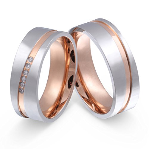 Juwelier Schönschmied- DamenZwei edle Titanringe, Verlobungsringe, Eheringe Bicolor mit Gratis Gravur Titan Zirkonia NrT23HD