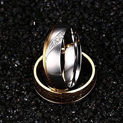 6mm Edelstahl 18k Partnerringe Silber Kristall für Mann und Frau Trend 2017 Verlobungsringe Eheringe Partnerringe Unisex (Mann, 2,0 cm)
