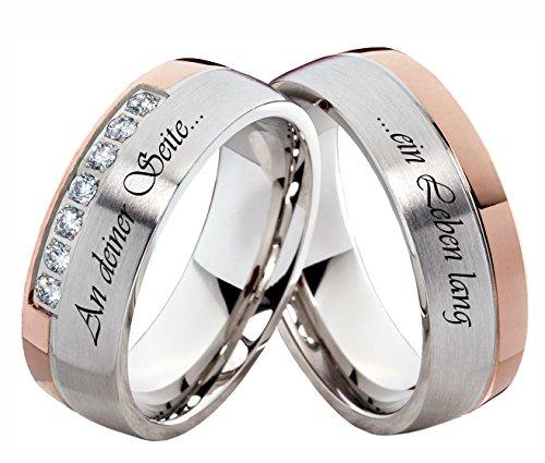 Verlobungsringe Eheringe Trauringe Edelstahlringe mit Zirkonia und Ihrer persönlichen Lasergravur H131