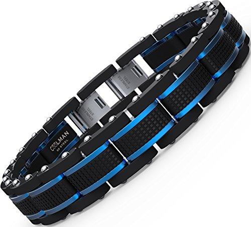 coolman schmuck herren armb nder edelstahl blaue schwarze. Black Bedroom Furniture Sets. Home Design Ideas