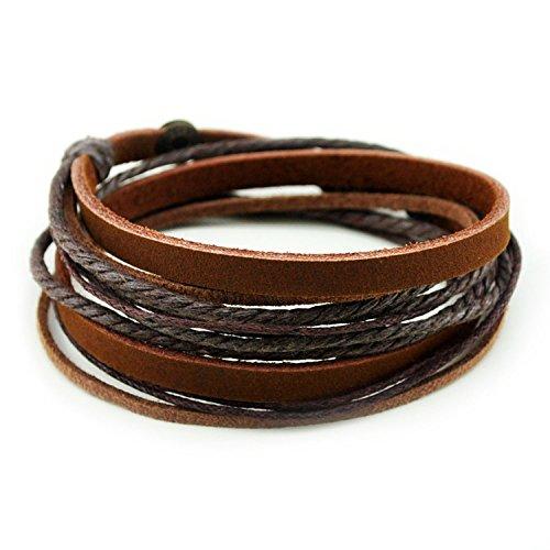 Echtes Leder Unisex Armband Doppe Wlickelarmband Handcraft Armreif mit Baumwolle Seil
