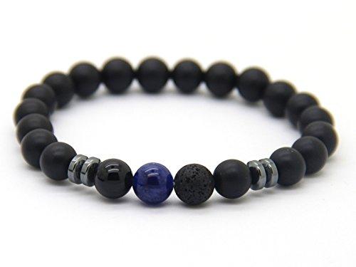 GOOD.designs Chakra-Perlenarmband aus Onyx-Lava-Natursteinen, Energiearmband mit bunter Jaspis-Weltkugel, Yoga-bracelet