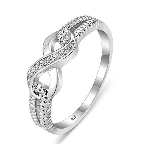 925 Sterling Silber Zirkonia Infinity Unendlichkeit Damen-Ring diamante schmuck