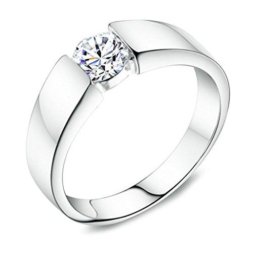 Bishilin Ring Herren 925 Sterling Silber Rund Simulated Lab Erstellt Diamant Hochzeit Ringe Verlobungsring