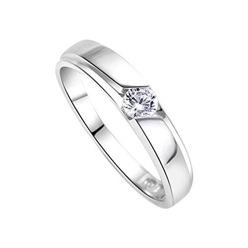 DEHANG Damen-Ring Herren-Ring Partnerringe Freundschaftsringe Strassring Sterling Silber mit zufälligem Geschenk Etui