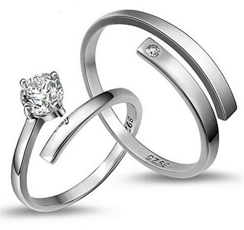 damen damenring 925 sterling silber einfache ffnen verstellbare ringe zirkon ein paar der ringe. Black Bedroom Furniture Sets. Home Design Ideas