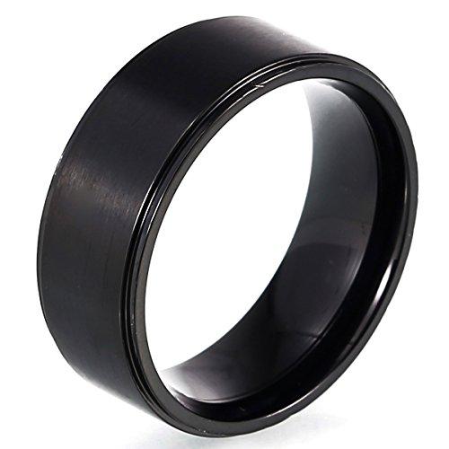 DonDon® Herren Ring Edelstahl schwarz