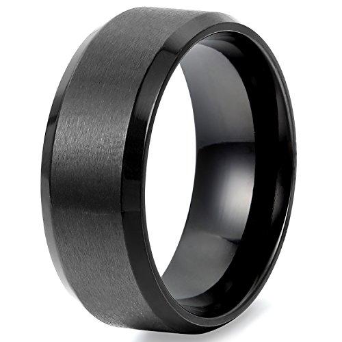 Flongo Breite 8mm Edelstahl Ring Ringe Herrenring Schwarz Band Valentine Lieben Paar Verlobung Engagement Verlobungsringe Hochzeit Poliert Herren Neu