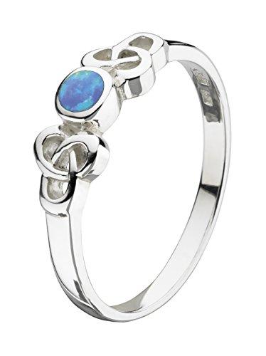 Heritage Damenring aus Sterling-Silber mit synthetischem Opal, Mittelblau, Größe Innendurchmesser: 16,2 mm