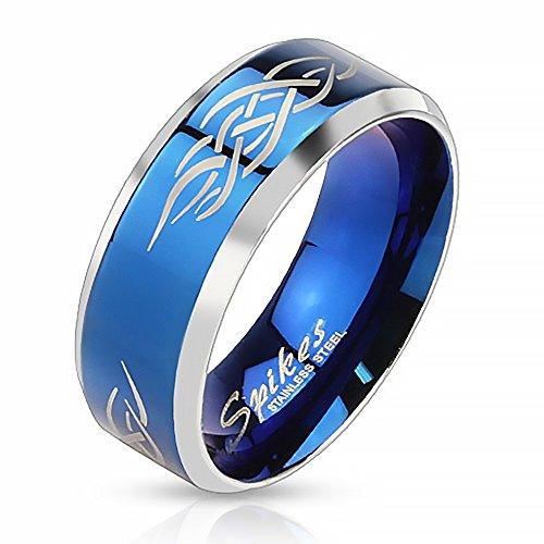 Herrenring Edelstahl Ring Herren Tribal Biker Bandring Gothic schwarz blau gold Autiga®