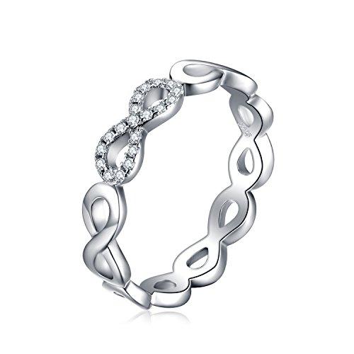 JewelryPalace Infinity Für immer Liebe Zirkonia Jahrestag Ring Unendlichkeit Vertrauensring 925 Sterling Silber Größe 51 to 59