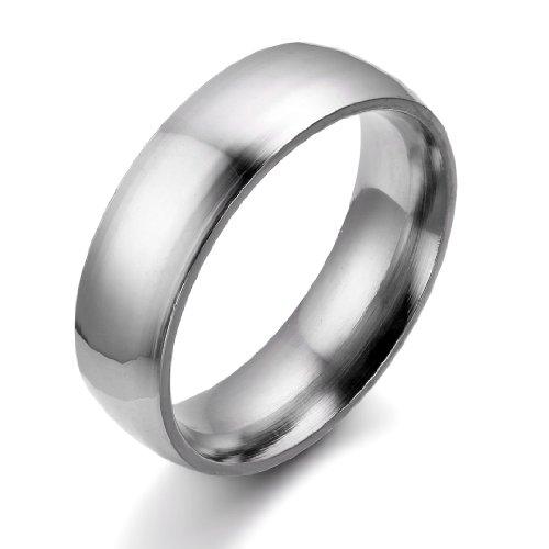 JewelryWe Schmuck 6mm Breite Edelstahl Herren-Ring, Hoch Poliert Dome Silber, Partnerringe Jahrestag Verlobung Hochzeit Band, mit Geschenk Tüte Größe 54 bis 66