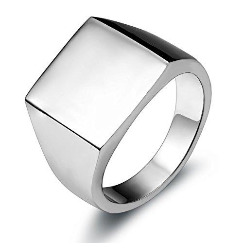 JewelryWe Schmuck Biker Edelstahl Herren-Ring, Glänzend Poliert Siegelring Quadrat Band Ring, Silber Größe 57 bis 67…