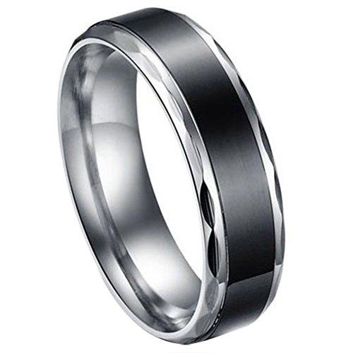 JewelryWe Schmuck Edelstahl Herren-Ring Schwarz Retro Liebe Trauringe Herren Ring für Engagement Versprechen Ewigkeit…