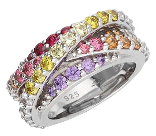Joop! Damen-Ring 925 Silber Zirkonia mehrfarbig Rundschliff Gr. 55 (17.5) - JPRG90586B530