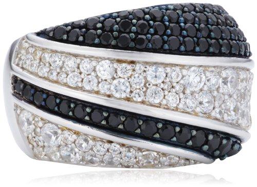 Joop Damen-Ring 925 Sterling Silber Statement teilweise geschwärzt Zirkonia-Pavée weiß/schwarz JPRG90608C5