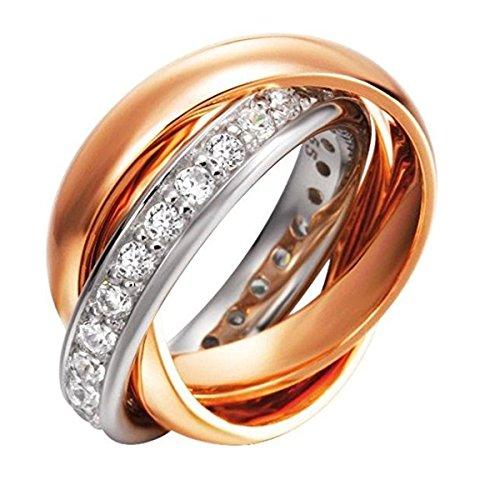 Joop! Damen-Ring Silber vergoldet teilvergoldet Zirkonia weiß - JPRG90003B5