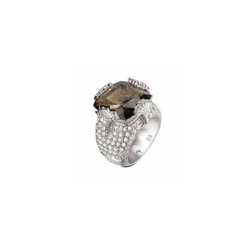 Joop DamenRing Solitär SilberRing mit leicht rauchigen quartza Stein
