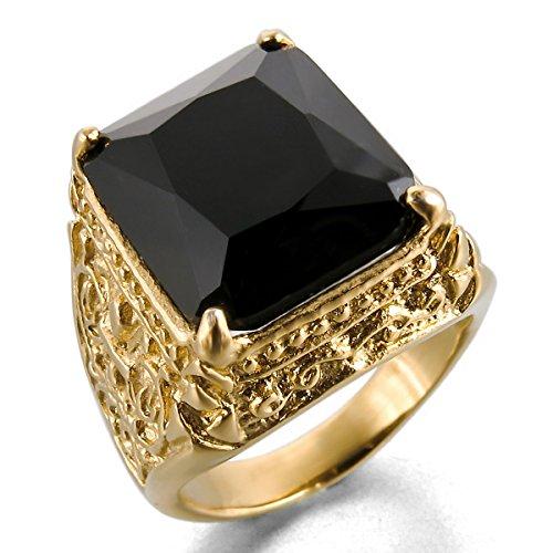 MunkiMix Edelstahl Glas Ring Golden Ton Schwarz Ritter Fleur De Lis Drachen Klaue Gravierte Gravur Herren