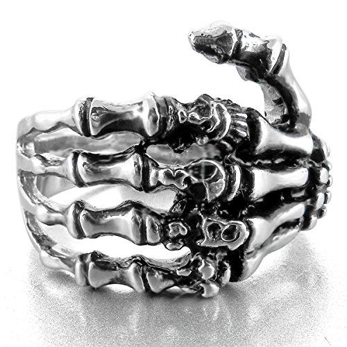 MunkiMix Edelstahl Ring Band Silber Ton Schwarz Totenkopf Schädel Hand Knochen Herren