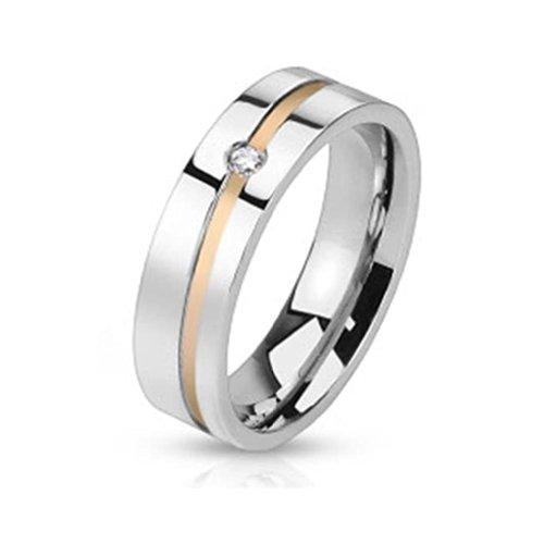 Paula & Fritz® Damen-ring Verlobungs-ring Freundschaftsring Herrenring Partnerring aus Edelstahl Chirurgenstahl 316L Linie roségold und einzelner Zirkonia verfügbare Ringgrößen 47 (15) – 69 (22)