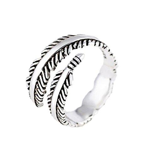 Qingsun Männer Junge Ring Silber Retro Thai Silber Stil Feder Form