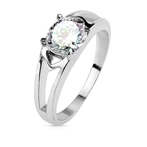 Tapsi´s Coolbodyart® Damenring Fingerring aus Edelstahl in Silber mit Zirkonia