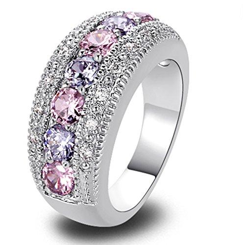 YAZILIND Band Pink White Topaz Kristall weißes Gold überzogen Ring für Frauen Geschenk