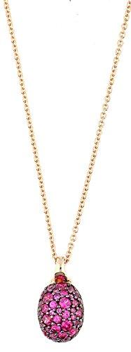 Joop! Damen-Kette mit Anhänger 925 Silber teilvergoldet Zirkonia pink - JPNL90759C420