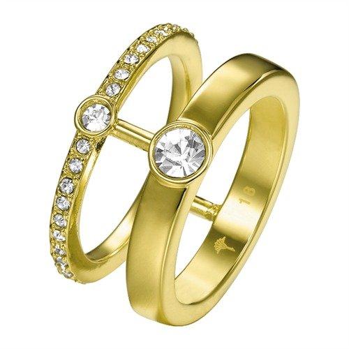 Joop! Damen-Stapelring Vergoldet Glas weiß - JPRG00003B1
