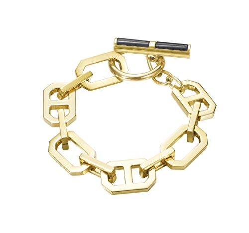 Joop! Damen-Armband JP-T CHAINS Edelstahl teilvergoldet Achat schwarz 20 cm-JPBR10656B200