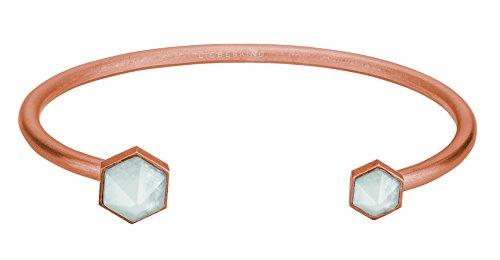 LIEBESKIND BERLIN Damen-Armreif Edelstahl mattiert Kristall weiß Radiantschliff 5.8 cm - LJ-0038-B-58