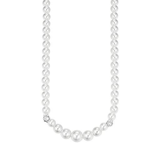 Joop Damen-Kette mit Anhänger 925 Silber Perle weiß Zirkonia 48 cm - JPNL90752A450