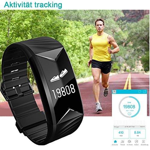 Fitness Armband,Yamay Fitness Tracker mit Herzfrequenz Wasserdicht IP67 Smart Watch Pulsuhren Aktivitätstracker Schrittzähler Armbanduhr,Schlafanalyse,Kalorienzähler Anruf/SMS für iOS Android Handys