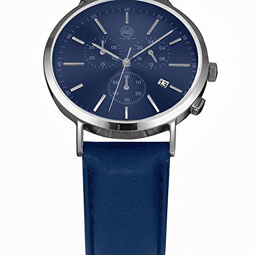DMwatch Herrenuhren Blau Leder Uhrenarmband Und Watchcase Silber Lünette 3ATM Wasserresistenz Mode Analoganzeige Quarz Watch Mit Datum Und Chronograph