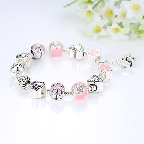 Presentski Liebe Charm Armband Rosa Damen Armband Anhänger liebeskind armband with Hundecharme and kleeblatt