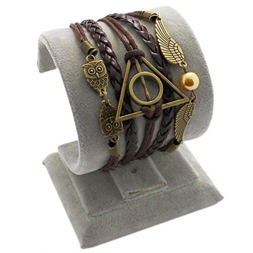 D'amelie Eule Armband aus Handmade Vintage Infinity Leder in unterschiedlichen Styles modern schick zeitlos schmucker versilbert Armband Damen Charms - Armband Armreif Schmuck