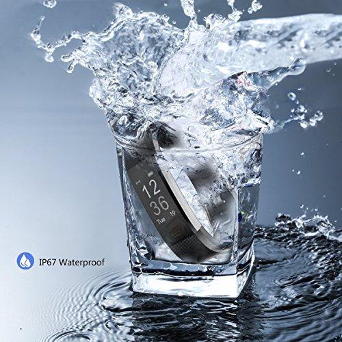 Antimi Fitness Armband, fitness tracker Uhr Pulsmesser Smartwatch mit Herzfrequenzmesser für Android Smartphone und iPhone, Schrittzähler, Push-Message und Anrufer - ID Benachrichtigung (schwarz)