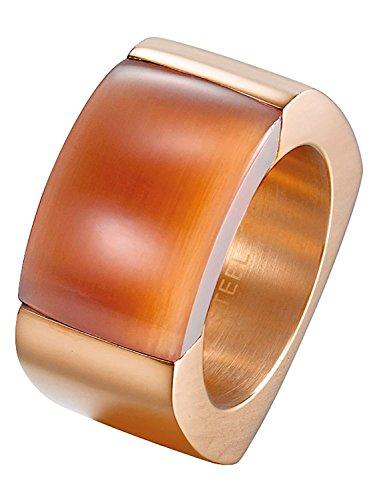 Joop! Damen-Ring Edelstahl Quarz rot Rechteckschliff Gr. 56 (17.8) - JPRG10614D180