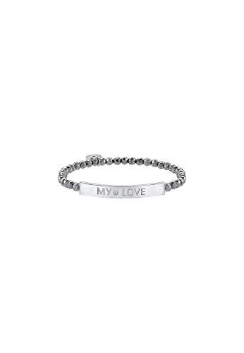 JETTE Silver Damen-Armband MY LOVE 925er Silber rhodiniert 1 Zirkonia 37 Hämatit One Size, silber