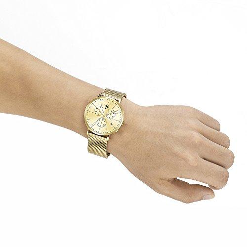 DMwatch Gold Rostfreier Stahl Armband 3ATM Wasserdicht Watchcase Mit Datum Und Chronograph Analoganzeige Quarz Mode Wache Für Herren