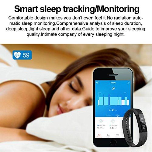 Fitness armband Lintelek Fitness Tracker Uhr mit Herzfrequenzmesser, schlanke Touchscreen und Armbänder, Tragbar Spritzwasser geschützt Aktivität Tracker Schrittzähler fitness uhr