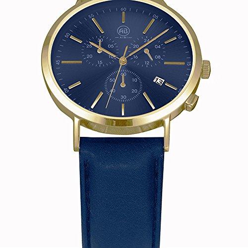 DMwatch Herrenuhren Blau Leder Uhrenarmband Und Watchcase Gold Lünette 3ATM Wasserresistenz Mode Analoganzeige Quarz Watch Mit Datum Und Chronograph