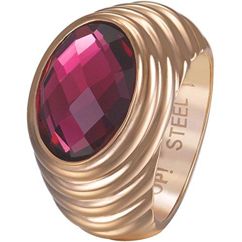 Joop! Damen-Ring Edelstahl Zirkonia rosa Rundschliff Gr. 56 (17.8) - JPRG10624C180