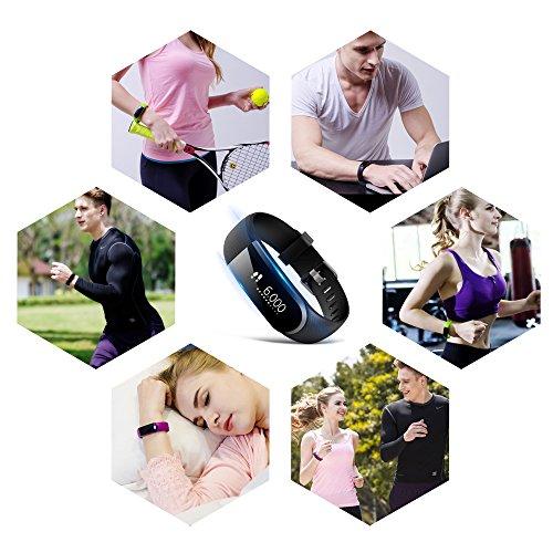 Fitness Armband Schrittzähler Fitness Tacker Pulsmesser Wasserdicht Smart Armband von Ironpeas