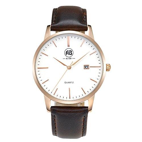 DMwatch Herrenuhren Braun Leder Uhrarmband Rose Gold Lünette Weiß 40mm Watchcase Mode Wasserdicht Mit Datum Analoganzeige Quarz Watch Für Herren