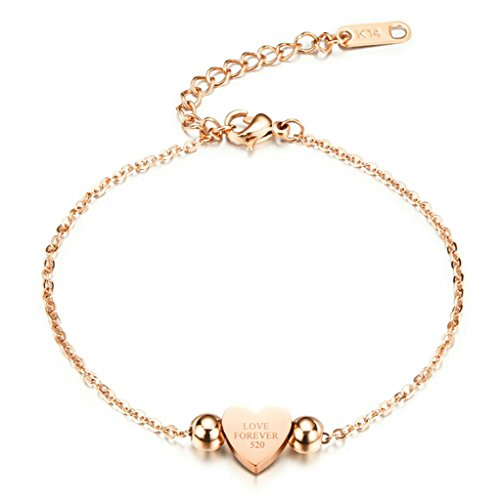 Epinki Damen Armband,Edelstahl Gravur Herz Form Damenarmband Elegant Armschmuck Poliert Armreif Rose Gold 18 CM